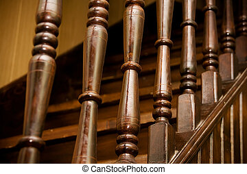 Wooden banister of home interior