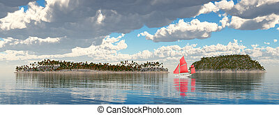 Sailboat and islands - Computer generated 3D illustration...
