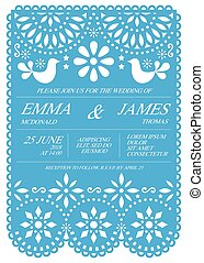 Wedding invitation vector card template - Mexican folk Papel...