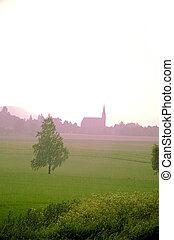 Church in the distance - Church seen through summer morning...