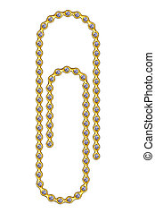 Golden paperclip with diamonds