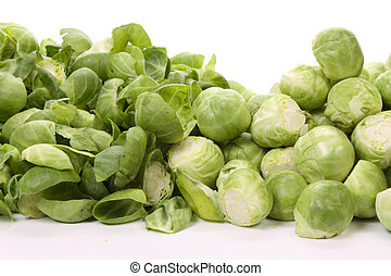 brussels sprouts, - Pealed and unpeeled brussels sprouts,