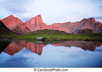Pyrenees in France - Peaks reflected in Ansabere Lake....