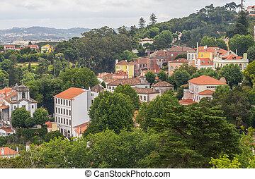 Sintra City View - Old Buildings and vegetation in Sintra...