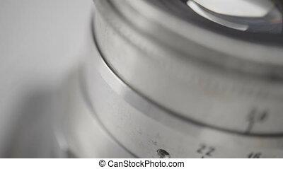 vintage camera lens close-up - vintage metal camera lens...