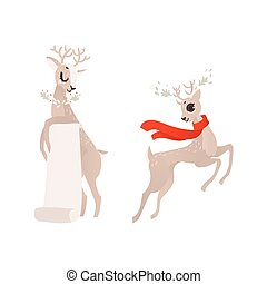 vector flat christmas reindeer isolated set - vector flat...