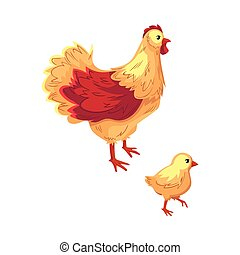 Two funny cartoon chicken, hen and baby chick - Two funny...