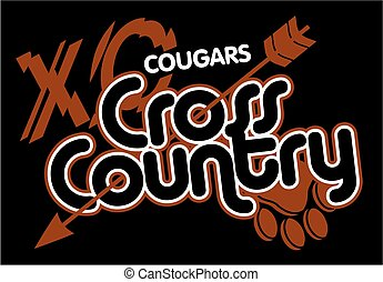 cougars cross country team design with arrow and paw print...