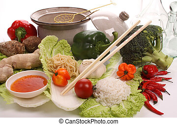 Chinese food with ingredients to make a meal