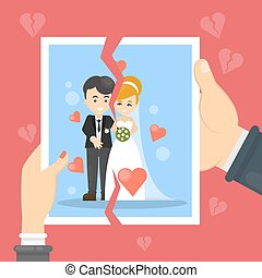 Divorce concept illustration. Woman and man tear marriage...