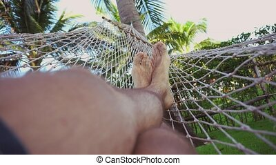 Man swing and relax in hammock near palms