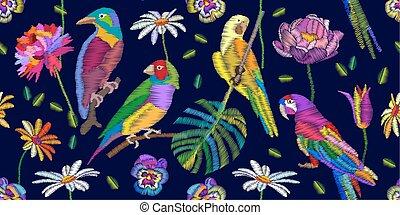 Colorful birds in the tropical garden. - Seamless vector...