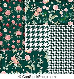 Retro patchwork design. - Set of checkered and floral...