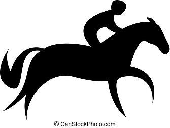 Simplified horse race. Equestrian sport. Silhouette of...