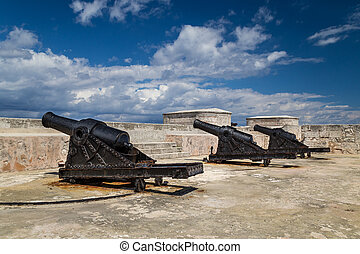 Old cannons in a colonial fort
