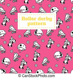 Seamless pattern on the theme of roller derby and roller...