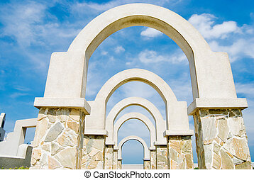 beautiful architecture, winding corridor with arch door decoration in the park
