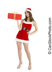 christmas girl isolated - christmas woman holding present...