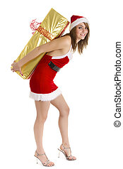 woman christmas shopping - santa claus woman carrying huge...