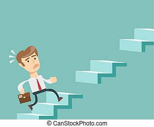 Man climbs the steps of collapsing ladder. Stock flat vector...
