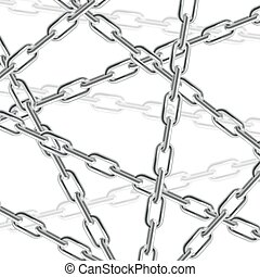 Realistic 3d Chain Background. Vector - Realistic 3d Silver...