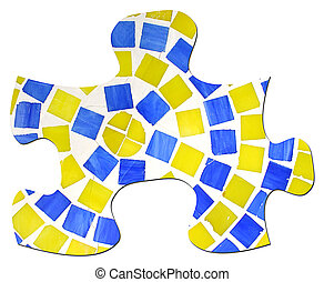 Tile and Grout Puzzle Piece - Large puzzle piece made of...