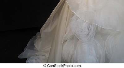 Wedding Gown - Detail of White Wedding Gown in Silhouette...