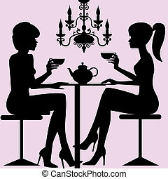 Tea time - Silhouettes of two women sitting down talking and...