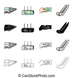 Electric, train, transport, and other web icon in cartoon...