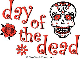 Day of the Dead Red Skull Graphic
