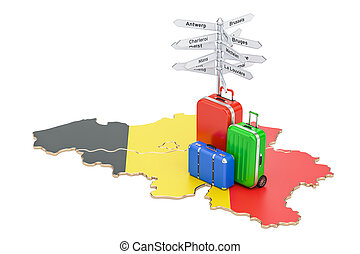 Belgium travel concept. Belgian map with suitcases and...