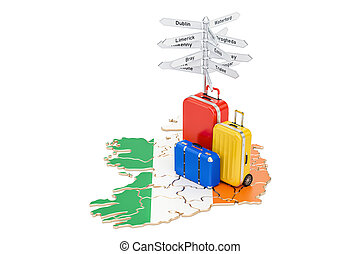 Ireland travel concept. Irish map with suitcases and...