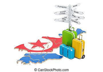 North Korea travel concept. Map with suitcases and signpost,...