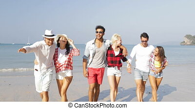 People Group Walking On Beach Three Couples Embracing Happy...