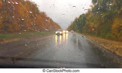 cars travel go on the road asphalt. autumn beautiful view...