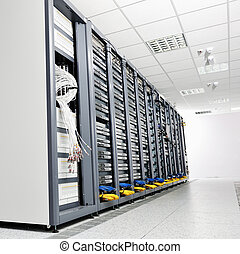 network server room - internet network server room with...