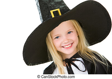 Happiness - Portrait of girl in black hat on white...
