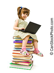 Intelligent pupil - Portrait of clever girl sitting on books...