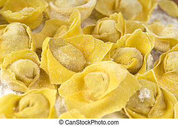 tortellini - flouring tortellini ready to cook in the broth