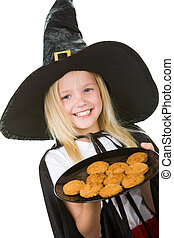 Trick or treat - Photo of girl in halloween costume holding...