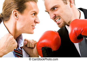 Angry men - Portrait of aggressive businessmen in boxing...