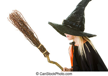 Scary witch - Photo of girl in witch costume holding broom