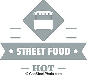 Hot street food logo, simple gray style - Hot street food...