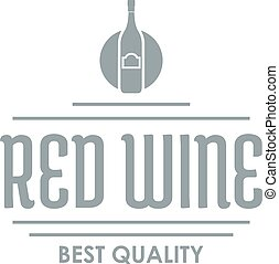 Red wine logo, simple gray style - Red wine logo. Simple...