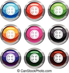 Sewing button set 9 collection - Sewing button set icon...