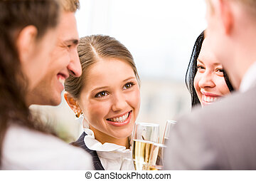 Toasting female - Photo of happy woman holding flute with...
