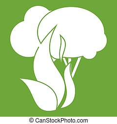 Burning forest trees icon green - Burning forest trees icon...