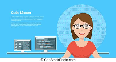 programmer woman character - picture of a smart programmer...