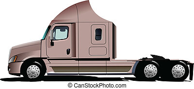 Vector illustration of pink  truck
