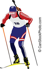 Biathlon runner colored silhouettes Vector illustration